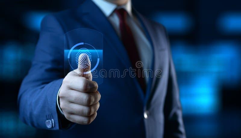 Fingerabdruckscan bietet Sicherheitszugang mit Biometrieidentifizierung Gesch?fts-Technologie-Sicherheits-Internet-Konzept lizenzfreie stockbilder