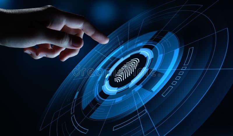 Fingerabdruckscan bietet Sicherheitszugang mit Biometrieidentifizierung Gesch?fts-Technologie-Sicherheits-Internet-Konzept stockbild