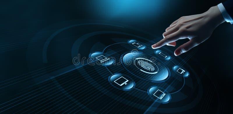 Fingerabdruckscan bietet Sicherheitszugang mit Biometrieidentifizierung Gesch?fts-Technologie-Sicherheits-Internet-Konzept stockfoto