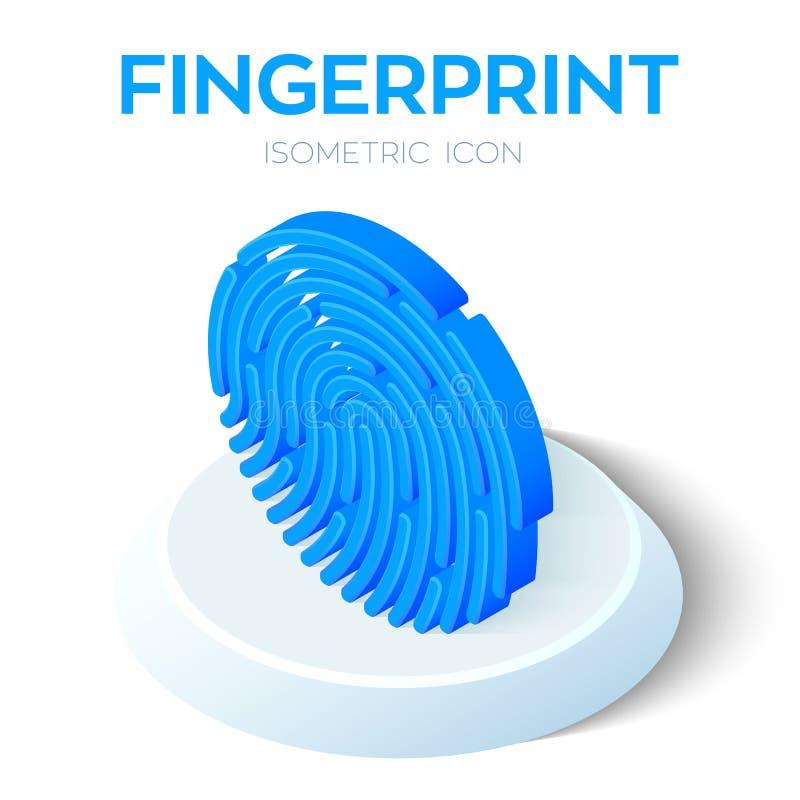 Fingerabdruckscan-Ikone isometrisches Zeichen des Fingerabdruckes 3D Biometrisches Kennzeichen Geschaffen für Mobile, Netz, Dekor vektor abbildung