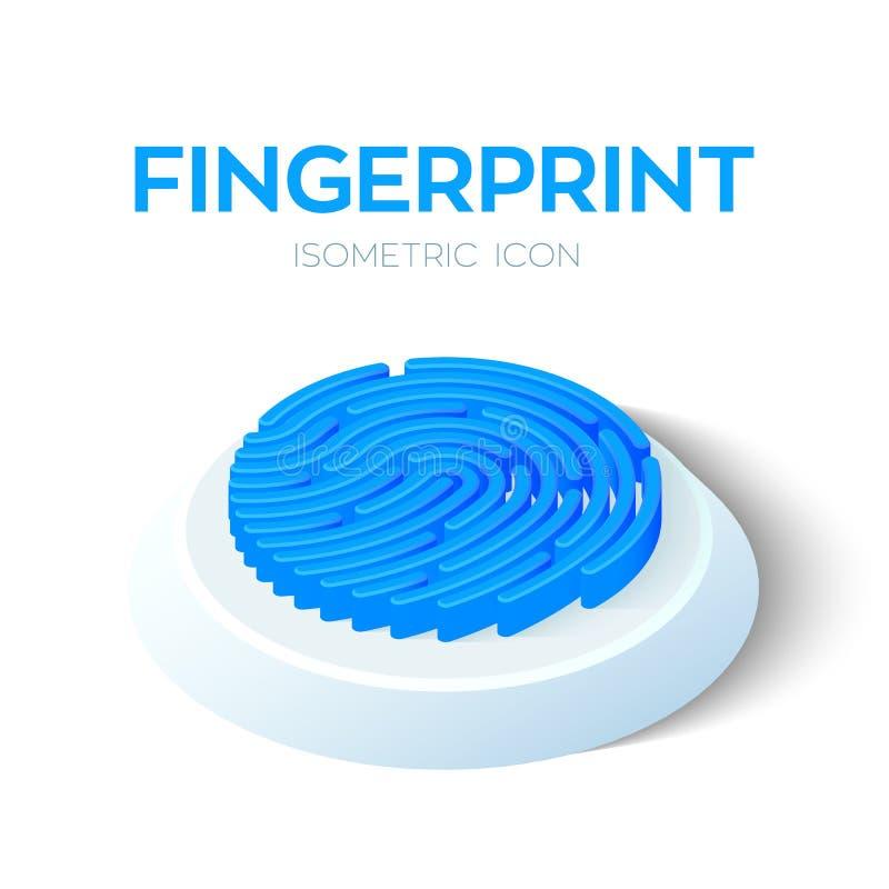 Fingerabdruckscan-Ikone isometrisches Zeichen des Fingerabdruckes 3D Biometrisches Kennzeichen Geschaffen für Mobile, Netz, Dekor lizenzfreie abbildung