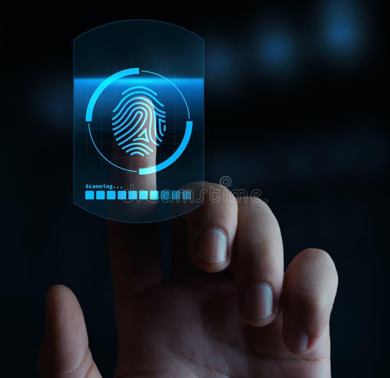 Fingerabdruckscan-Sicherheitszugang mit Biometrieidentifizierung lizenzfreie stockfotos