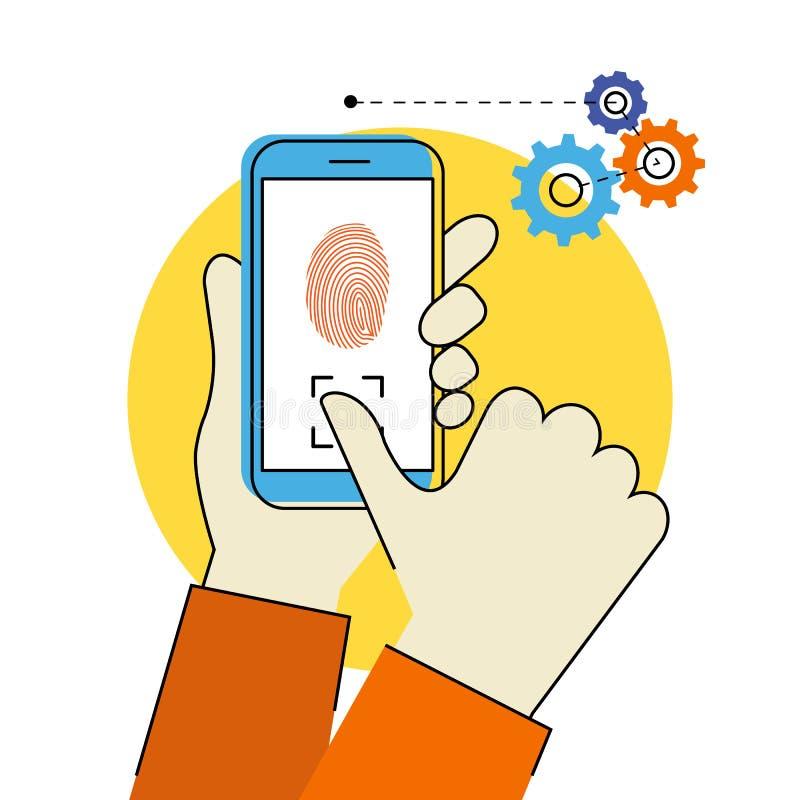 Fingerabdruckscannen auf Smartphone vektor abbildung