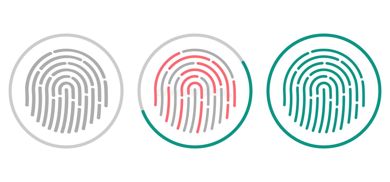 Fingerabdruckscannenikonen lokalisiert auf weißem Hintergrund Biometrisches Ermächtigungssymbol Auch im corel abgehobenen Betrag stock abbildung