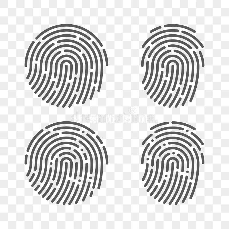 Fingerabdruckvektorfingerabdruck-Logoikonen lizenzfreie abbildung