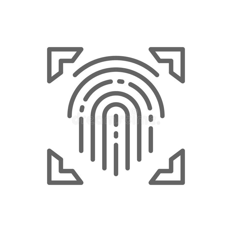 Fingeravtryck avläst finger, cryptographic häfte, identitetslinje symbol royaltyfri illustrationer