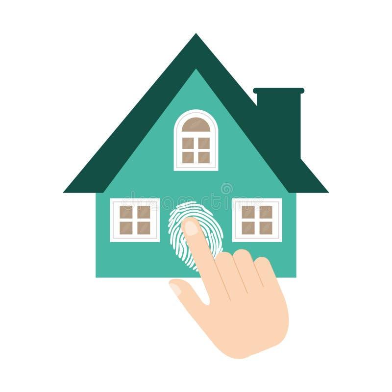 fingeravtryck för system för hem- säkerhet stock illustrationer