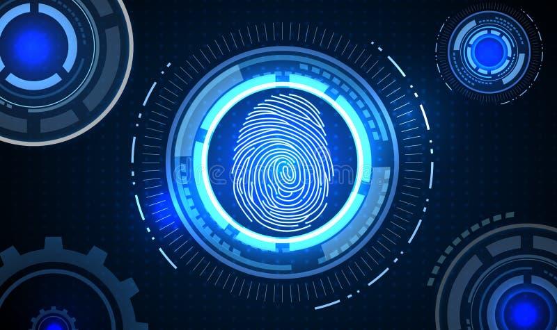 Fingeravtryck med bakgrund för teknologi för begreppsblåttabstrakt begrepp stock illustrationer