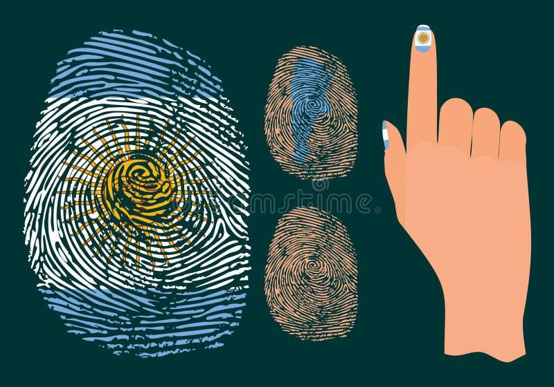 Fingeravtryck och hand för Argentina vektor illustrationer