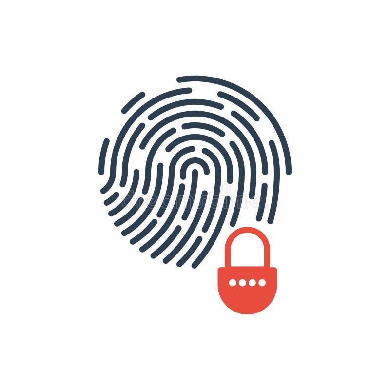 Fingeravtryck och hemligt system för säkerhetslås gears symbolen royaltyfri illustrationer