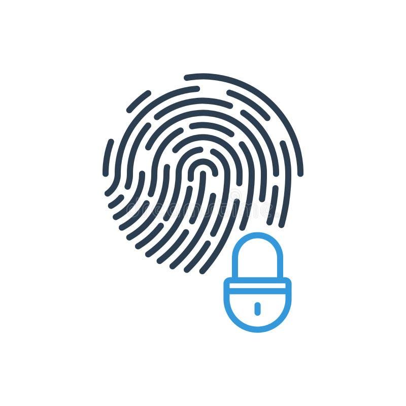 Fingeravtryck och hemligt system f?r s?kerhetsl?s gears symbolen stock illustrationer