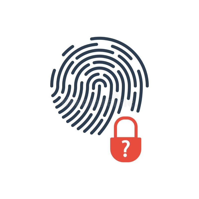 Fingeravtryck och säkerhetslåsproblem Vektorsymbol som isoleras p? vitbakgrund vektor illustrationer