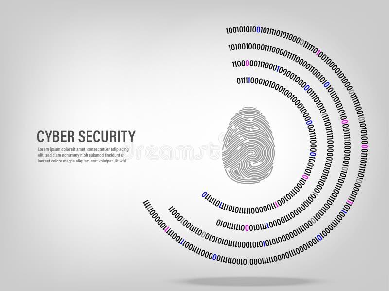 Fingeravtryck på digital cirkelbakgrund för binär kod stock illustrationer