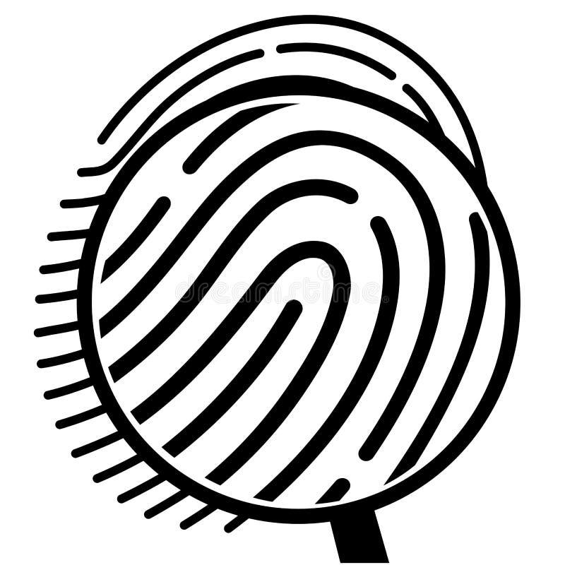 Fingeravtryck under ett förstoringsglas royaltyfri illustrationer