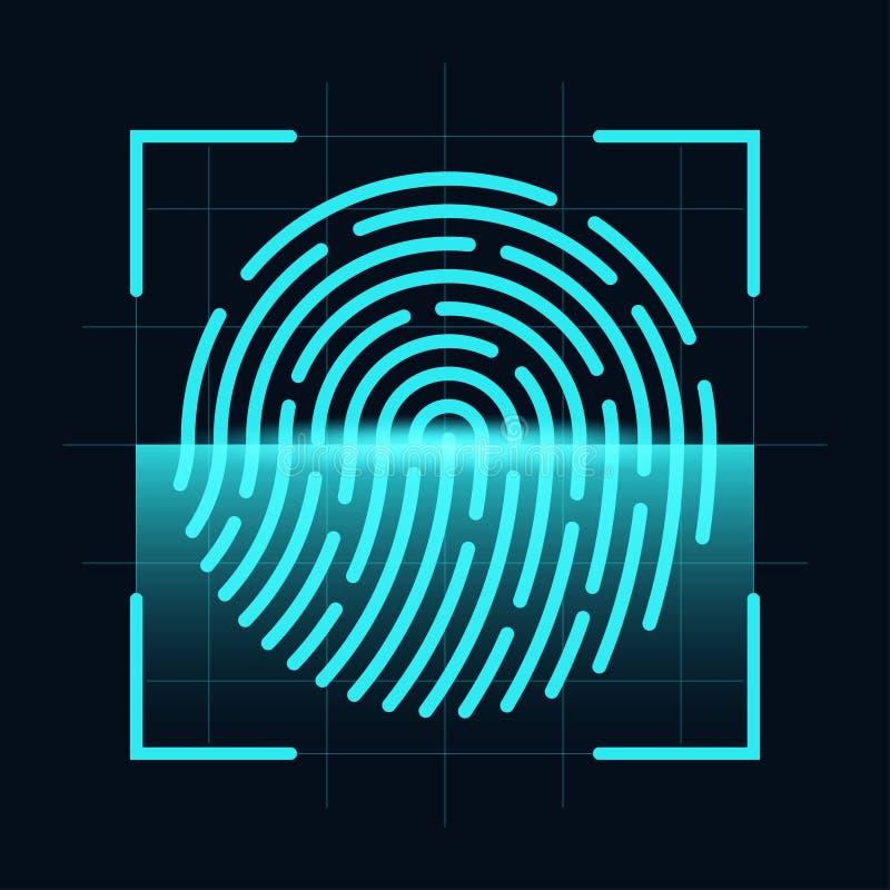 Fingeravtryckbildläsarbegrepp Digital och cybersäkerhet, biometric bemyndigande Fingeravtryck på scanningskärmen stock illustrationer