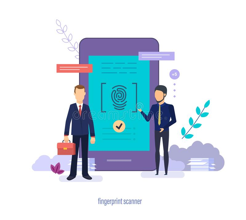 Fingeravtryckbildläsare Identifiera med fingeravtryck att avläsa, användareID, säkerhetslegitimation, biometric bemyndigande royaltyfri illustrationer