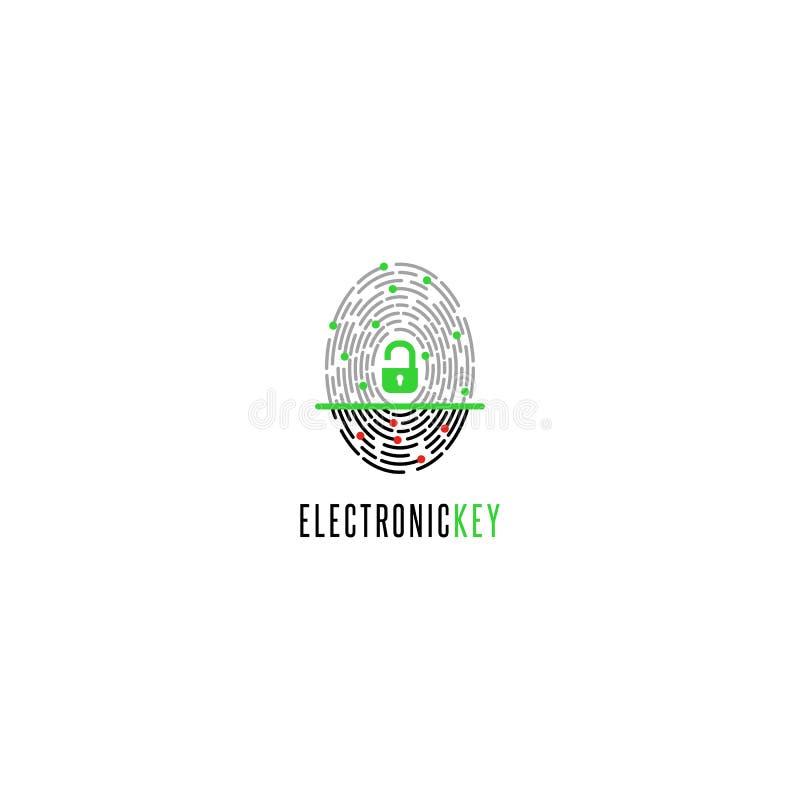 Fingeravtryckbildläsare med ett öppet lås med ID, begreppet av det elektroniska häftet med biometric bemyndigande till royaltyfri illustrationer