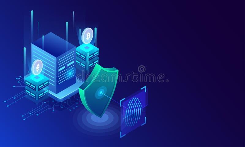Fingeravtryckbildläsning, biometric identitet och godkännande Framtid av sekunden royaltyfri illustrationer