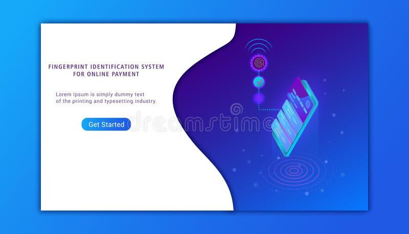 Fingeravtryckbildläsning, biometric IDsystemdesign vektor illustrationer