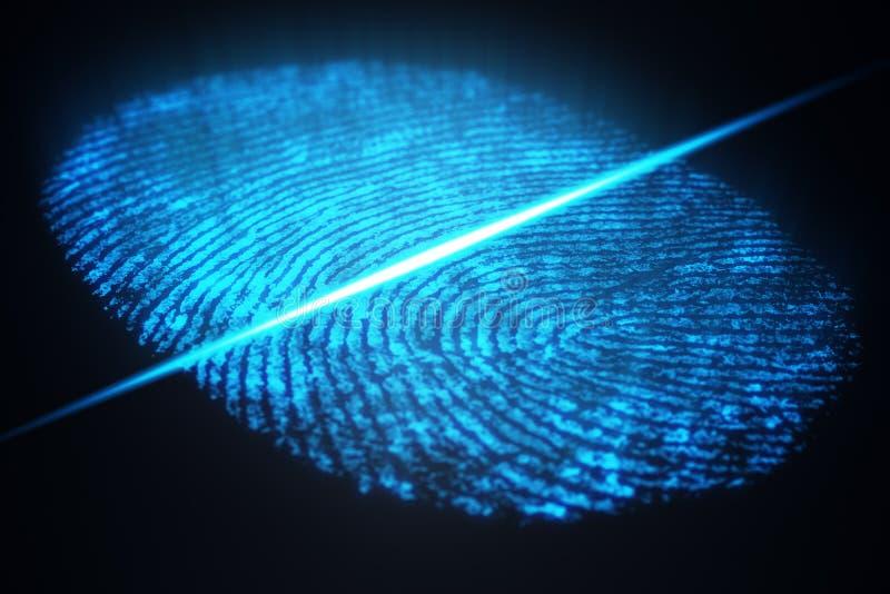 fingeravtryckbildläsningen för illustrationen 3D ger säkerhetstillträde med biometricsID Begreppsfingeravtryckskydd royaltyfri illustrationer