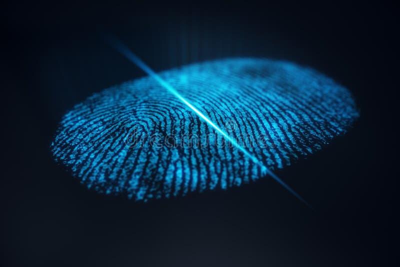 fingeravtryckbildläsningen för illustrationen 3D ger säkerhetstillträde med biometricsID Begreppsfingeravtryckskydd stock illustrationer