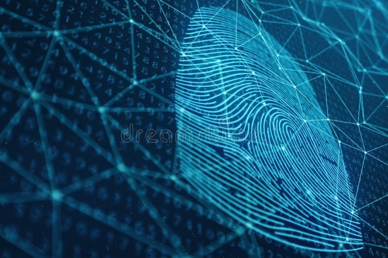 fingeravtryckbildläsningen för illustrationen 3D ger säkerhetstillträde med biometricsID Begreppsfingeravtryckskydd arkivfoto