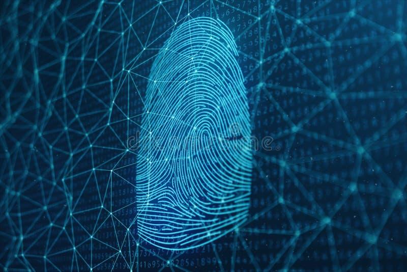 fingeravtryckbildläsningen för illustrationen 3D ger säkerhetstillträde med biometricsID Begreppsfingeravtryckskydd royaltyfri bild
