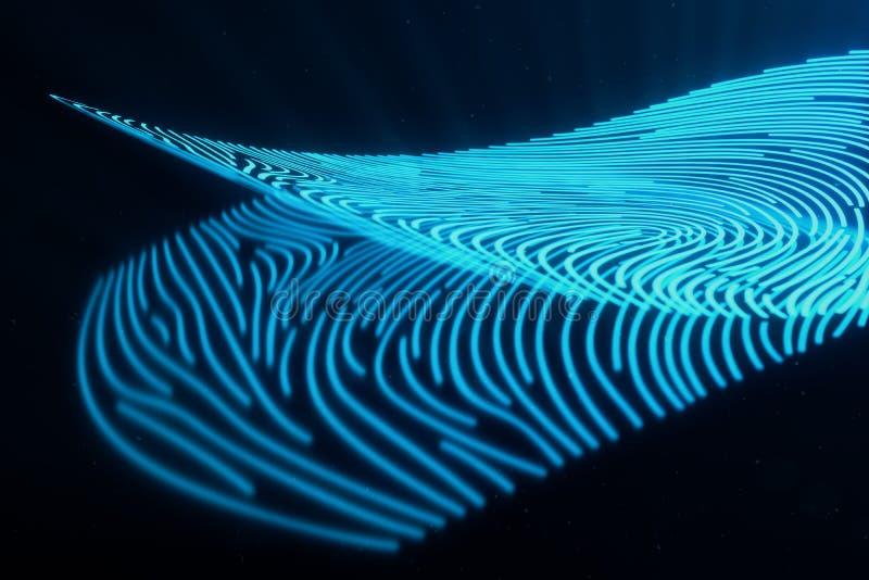 fingeravtryckbildläsningen för illustrationen 3D ger säkerhetstillträde med biometricsID Begreppsfingeravtryckskydd fotografering för bildbyråer