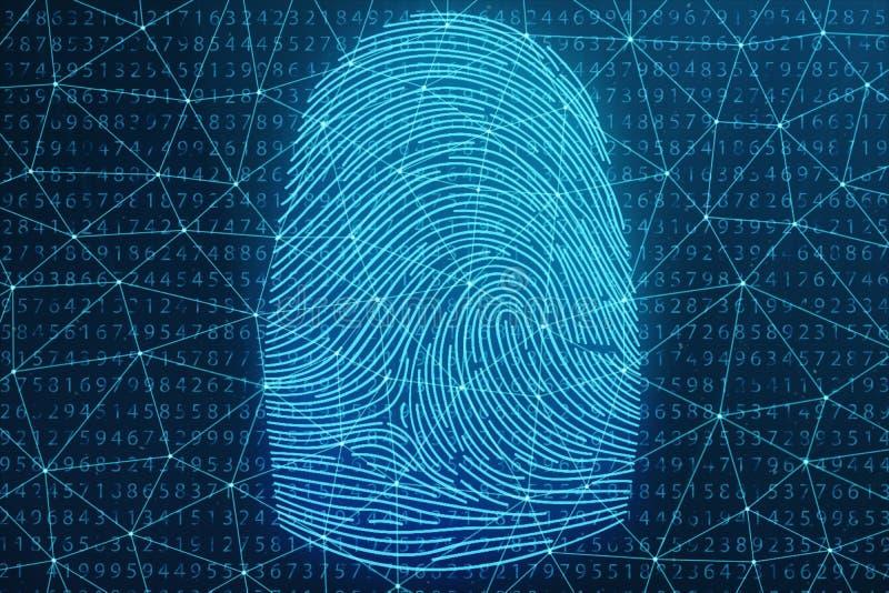 fingeravtryckbildläsningen för illustrationen 3D ger säkerhetstillträde med biometricsID Begreppsfingeravtryckskydd royaltyfri foto