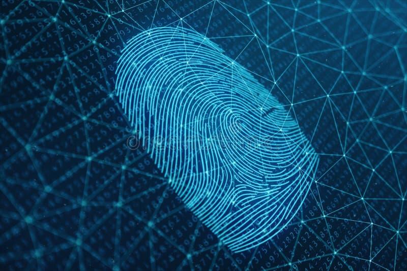 fingeravtryckbildläsningen för illustrationen 3D ger säkerhetstillträde med biometricsID Begreppsfingeravtryckskydd vektor illustrationer
