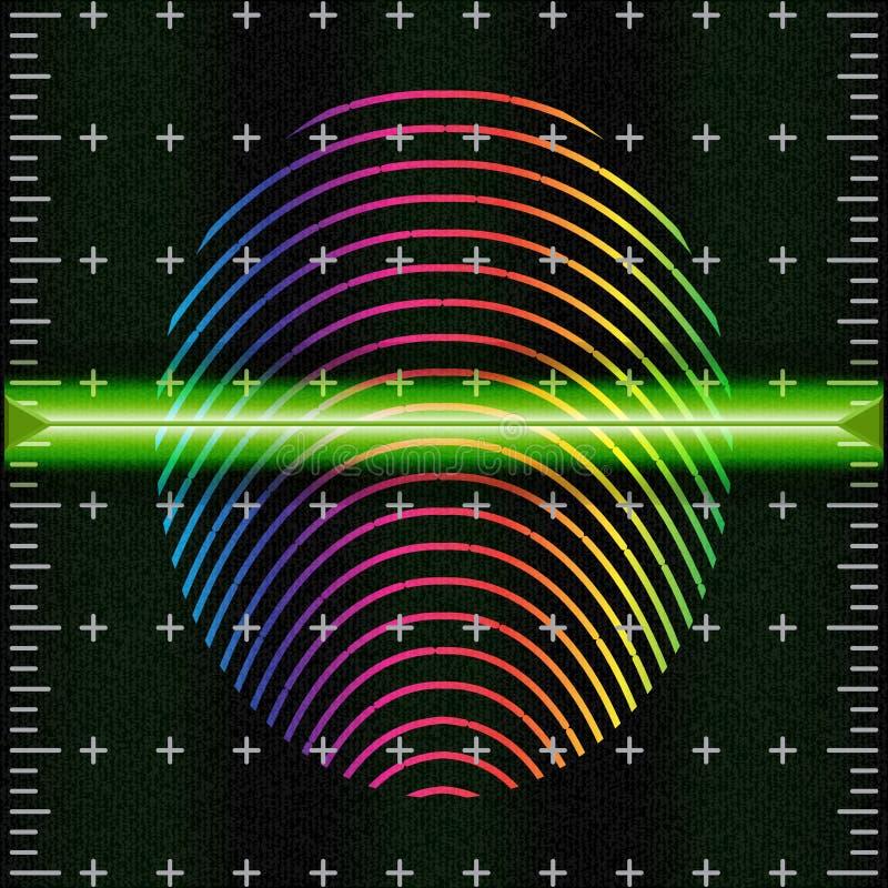 Fingeravtryckbildläsningen ger säkerhetstillträde BiometricsID Futuristiskt manöverenhetsbildläsarfingeravtryck vektor illustrationer