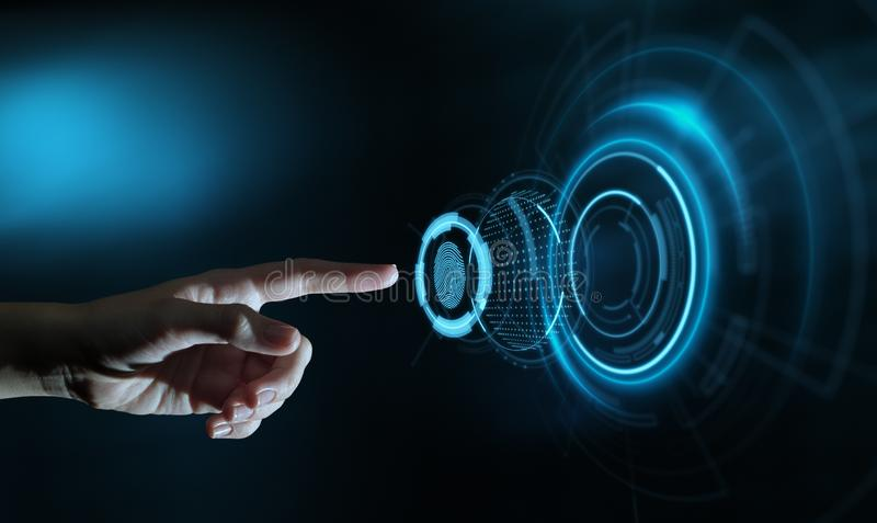 Fingeravtryckbildläsningen ger säkerhetstillträde med biometricsID Begrepp för internet för affärsteknologisäkerhet arkivfoton