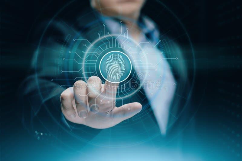 Fingeravtryckbildläsningen ger säkerhetstillträde med biometricsID Begrepp för internet för affärsteknologisäkerhet fotografering för bildbyråer
