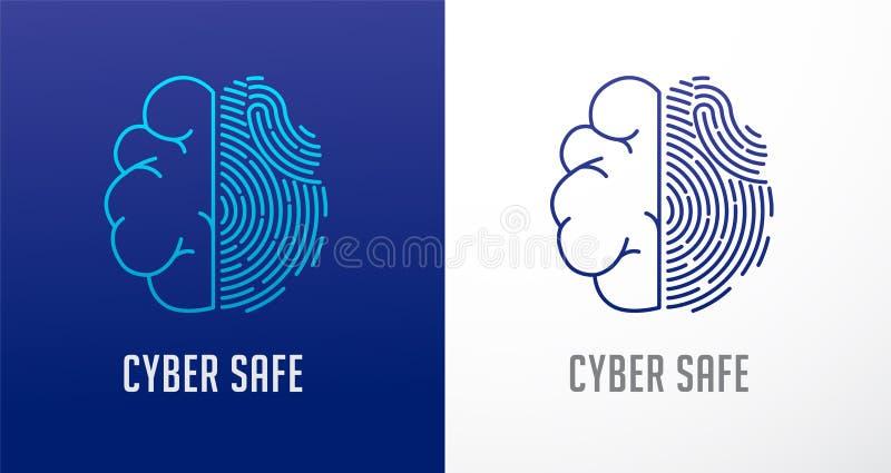 Fingeravtryckbildläsningslogo, avskildhet, symbol för mänsklig hjärna, cybersäkerhet, information om identitet och nätverksskydd  royaltyfri illustrationer