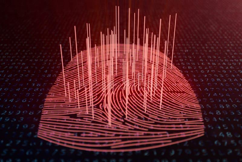 fingeravtryckbildl?sningen f?r illustrationen 3D ger s?kerhetstilltr?de med biometricsID Begreppsfingeravtryckdataintr?ng vektor illustrationer