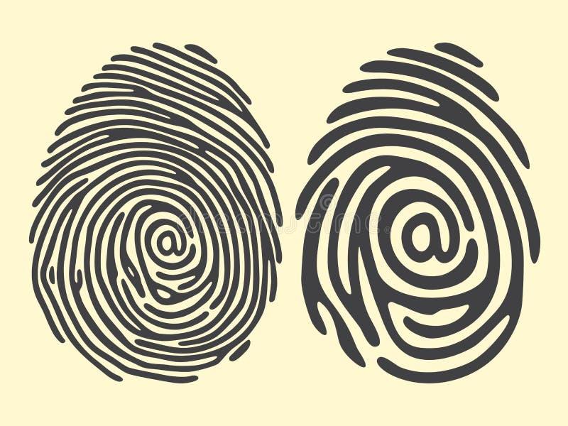 Fingeravtryckemail vektor illustrationer