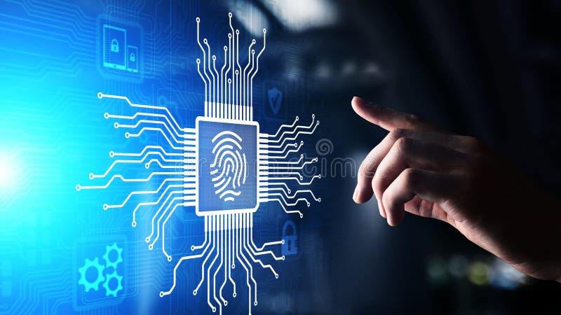 Fingeravtrycket låser begrepp för skydd för cybersäkerhetsdata på den faktiska skärmen upp royaltyfri illustrationer