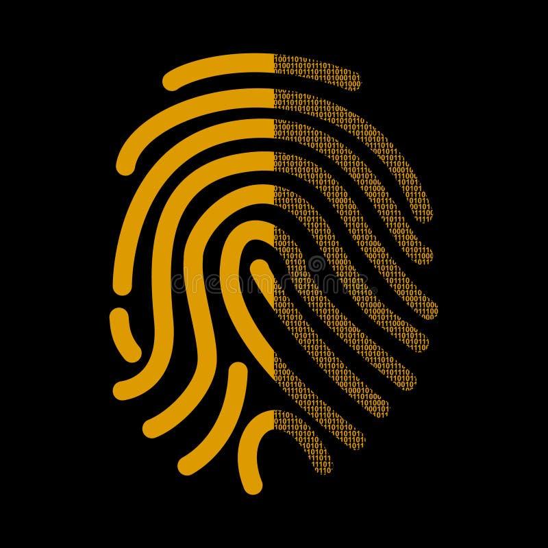 Fingeravtryckhäfte i binär kod Illustration på ämnet av Cybersecurity royaltyfri illustrationer