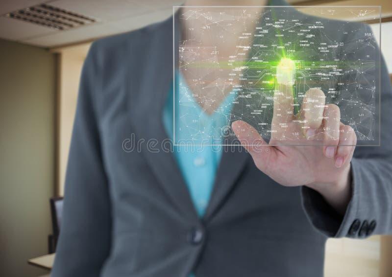 fingeravtryckscane med den gröna signalljuset och c9onnections stock illustrationer