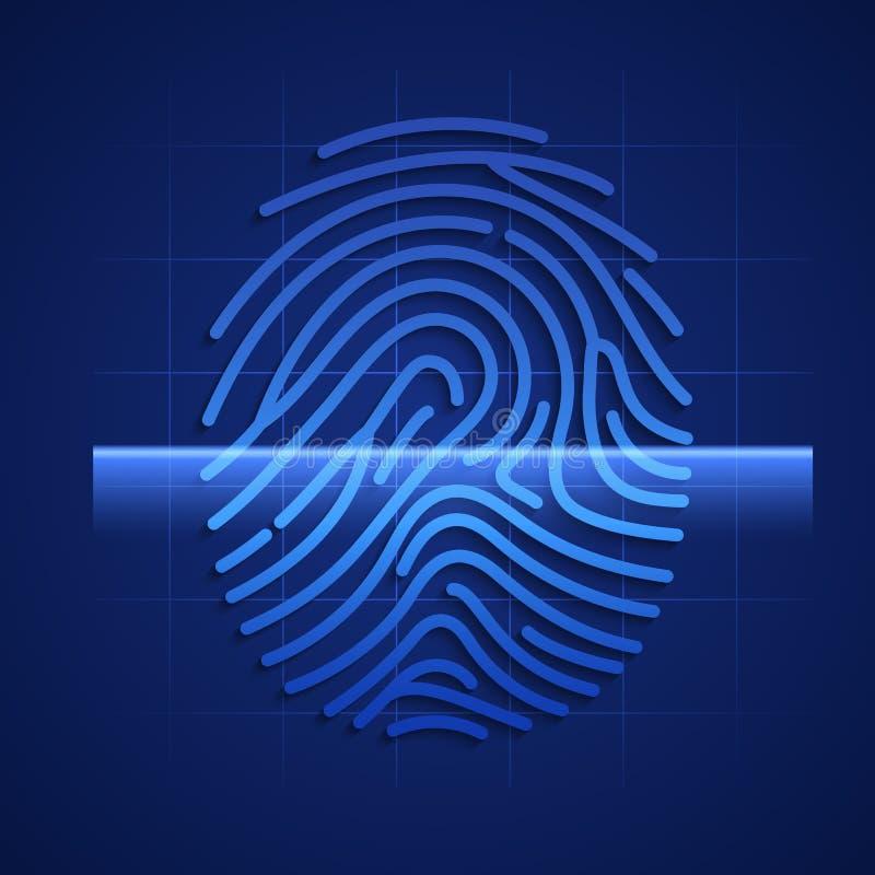 Fingeravtryckscanning Beståndsdel av HUD teknologimanöverenheten Vektorillustration som isoleras på blå bakgrund vektor illustrationer