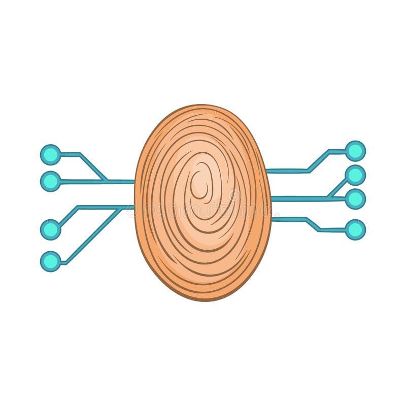 Fingeravtryckscanningsymbol, tecknad filmstil royaltyfri illustrationer