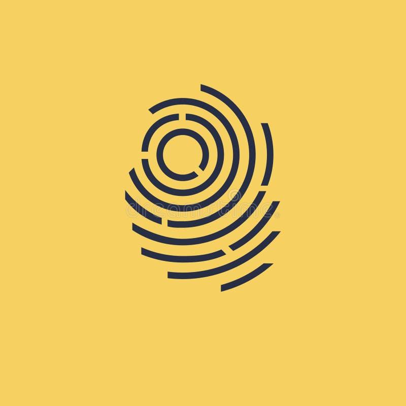 Fingeravtrycksvartsymbol på gul bakgrund royaltyfri illustrationer