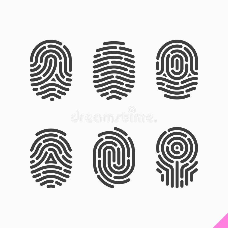 Fingeravtrycksymbolsuppsättning stock illustrationer