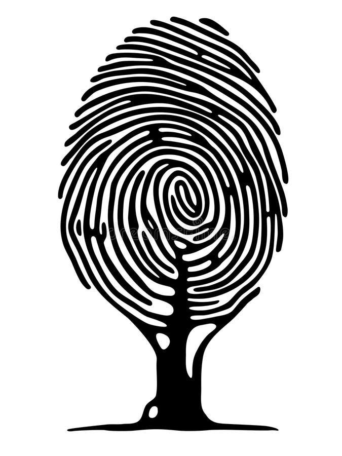 fingeravtrycktree stock illustrationer