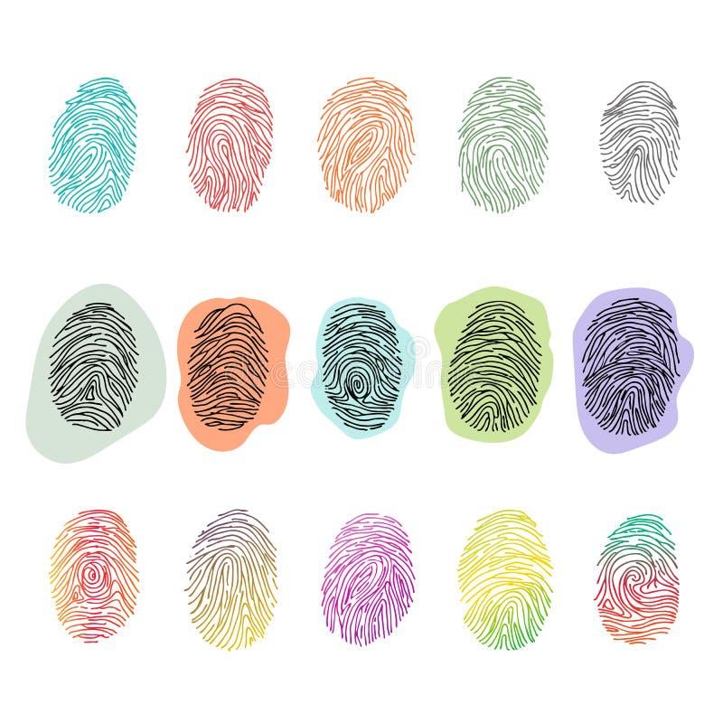 Fingeravtryckvektor som identifierar med fingeravtryck identitet med uppsättningen för fingerspetsIDillustration av att fingra tr vektor illustrationer