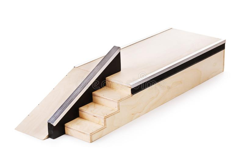 Fingerboard wooden ramp isolated stock image