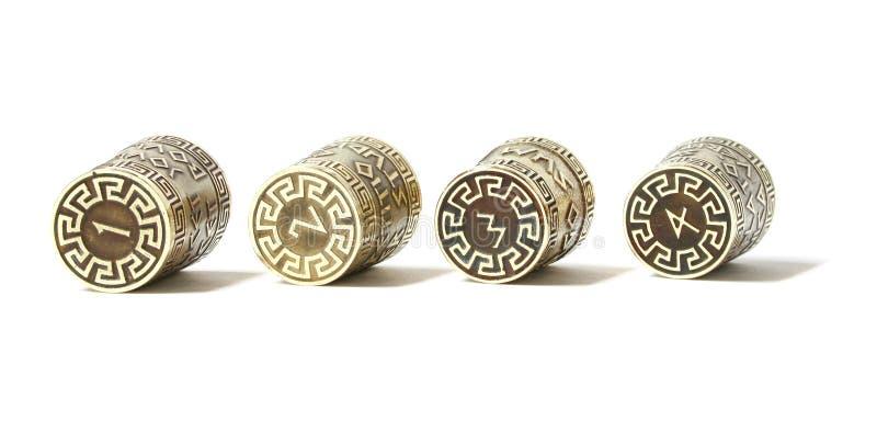 Fingerborg för ot fyra för samling fastställda dekorativa med etsning med grekiska aforismer royaltyfria foton