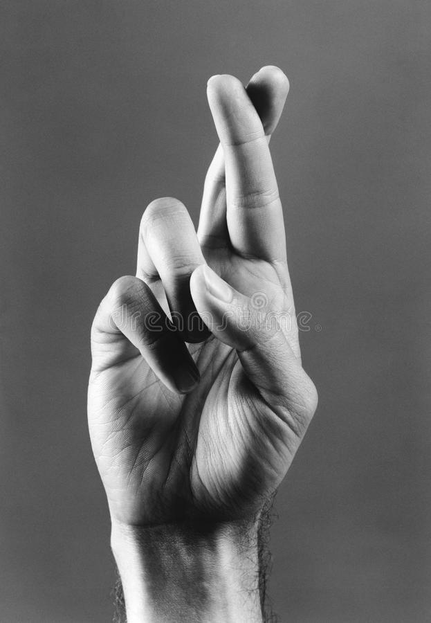 Fingeres cruzados (b&w) (primer) imagen de archivo