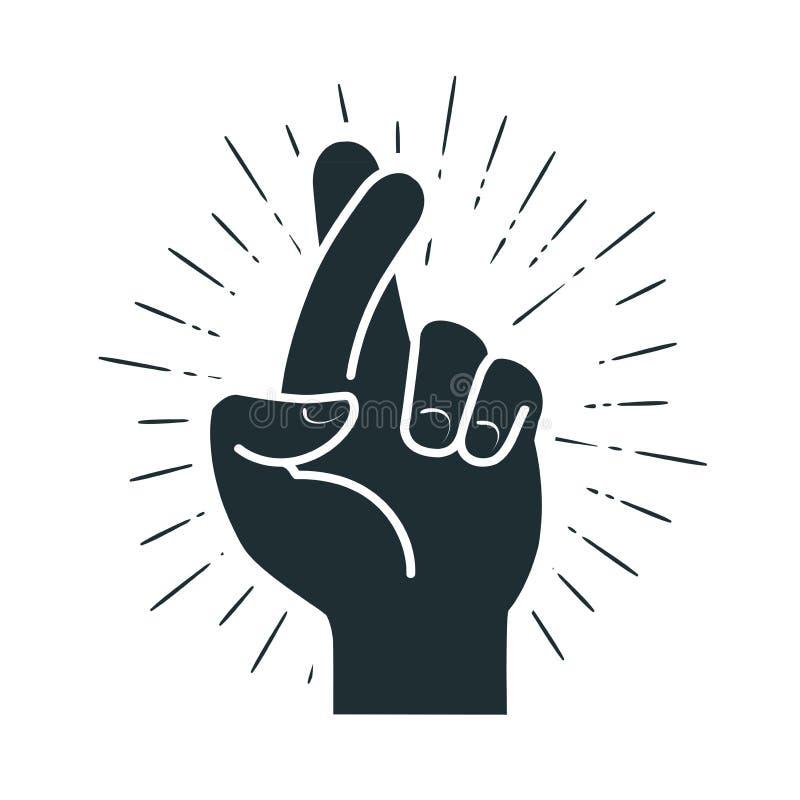 Fingeres cruzados, gesto de mano Mentira, en suerte, símbolo de la superstición o icono Ilustración del vector stock de ilustración