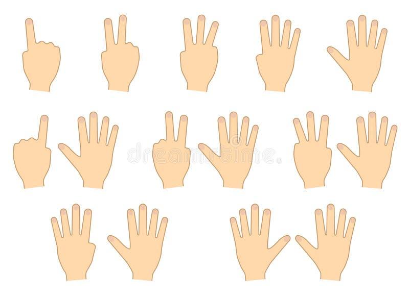 Fingeres de manos Cuenta, educación conjunto Ilustración del vector stock de ilustración